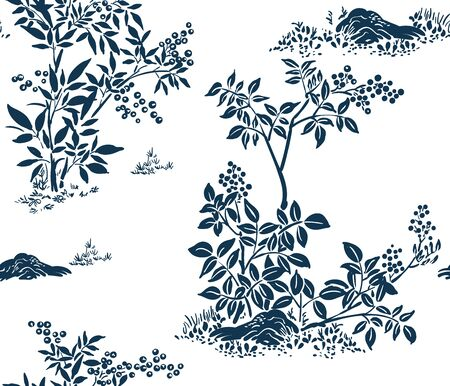 buckthorn honeysuckle vector ink illustration sketch japanese chinese style line art design seamless Vettoriali
