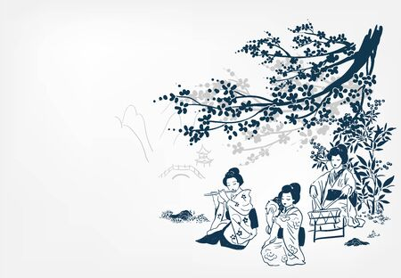 vector ink illustration sketch japanese chinese style line art design kimono girl plays music and dances under sakura japan view traditional