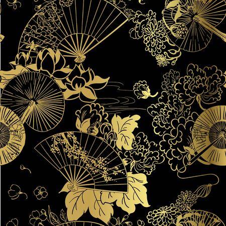 fan flower unbrella vector japanese chinese seamless pattern design gold