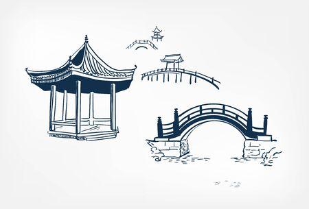 alcove bridge vector sketch illustration japanese chinese oriental line art design
