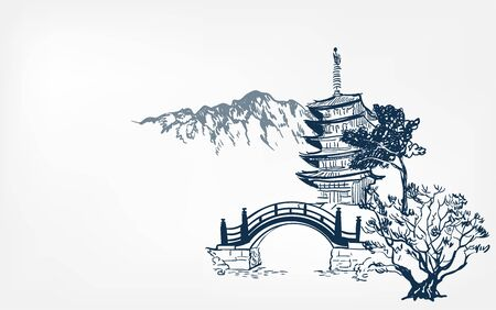 Tempelkarte Natur Landschaftsansicht Brücke Vektor Skizze Abbildung Japanisch Chinesisch Orientalisch