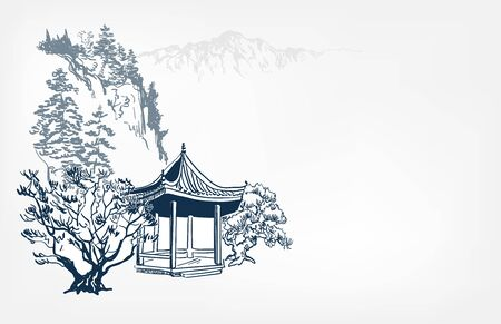 alcove view landscape card vector sketch illustration japanese chinese oriental line 일러스트