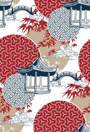 alcove bridge maple circles japanese chinese vector design pattern blue Illustration