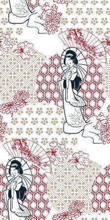 geisha girl fan umbrella kimono circles japanese chinese vector design pattern blue
