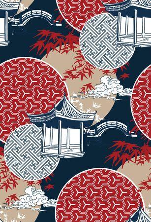 alcove bridge maple circles japanese chinese vector design pattern blue 일러스트