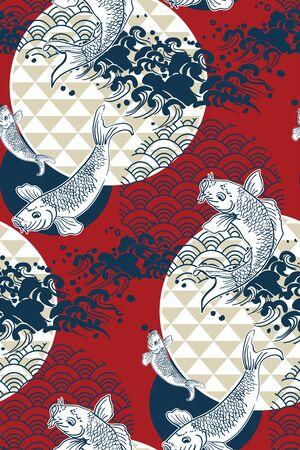 koi fish wave water circles japanese chinese vector design