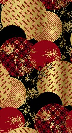 red black gold bamboo plant japanese chinese vector design Vetores