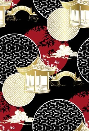alcove bridge maple circles japanese chinese vector design pattern black