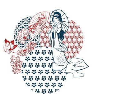 geisha woman umbrella fan circles japanese chinese vector design pattern