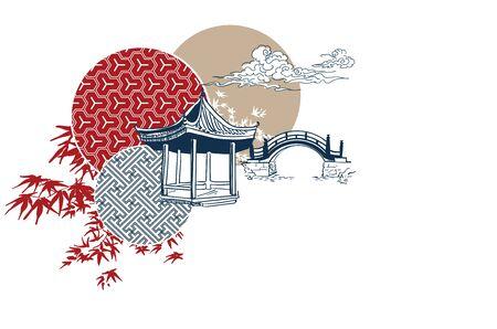 alcove bridge alcove maple circles japanese chinese vector design pattern