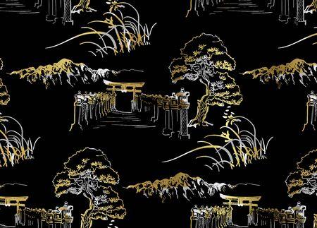 thorium temple nature landscape view vector sketch illustration japanese chinese oriental line art