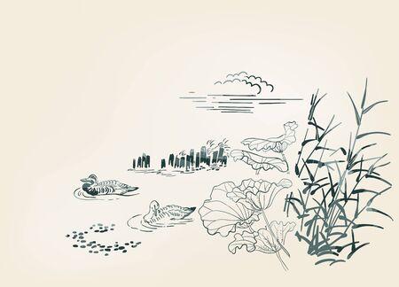 pond ducks burdock nature landscape view vector sketch illustration japanese chinese oriental line art ink card