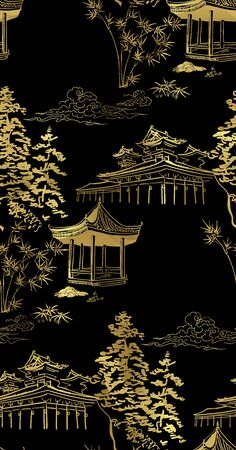 temple nature landscape view vector sketch illustration japanese chinese oriental line art