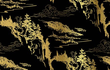 mountains nature landscape view vector sketch illustration japanese chinese oriental Ilustração