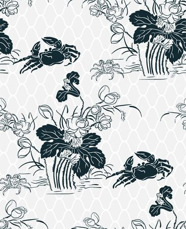 Krabbe orientalisches japanisches chinesisches Vektordesign nahtlos