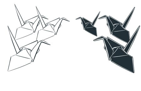 paper cranes origami japanese chinese oriental vector ink style design elements