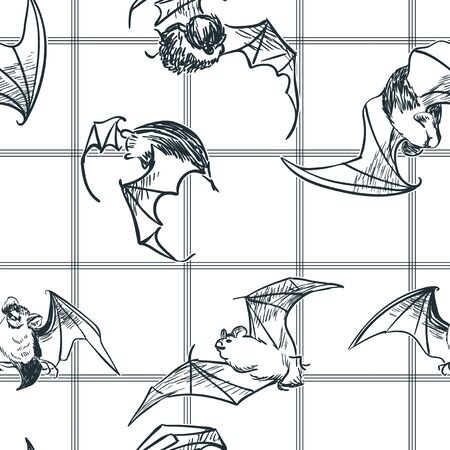 bat seamless pattern japanese chinese oriental vector ink style design elements