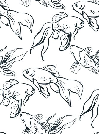 gold fish japanese chinese oriental vector ink style design