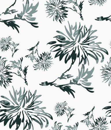 ink flower vector sketch illustration japanese chinese oriental line art seamless