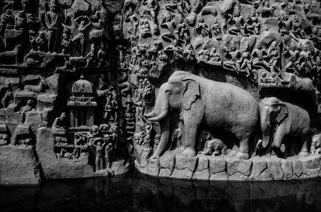 penance: Arjuna penance is located in Mamallapuram. Stock Photo