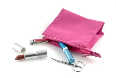 pink make up case with several make-up products photo