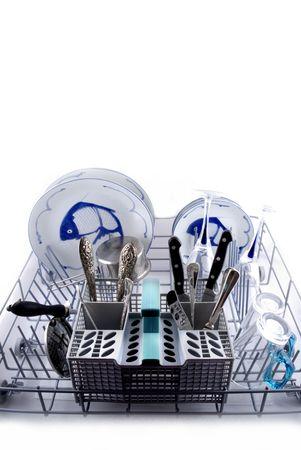 tu puedes: Puede utilizar el lavavajillas en la cocina!  Foto de archivo