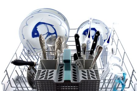 Dishwasher filled with blue and white Chinese earthenware photo