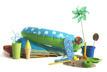 fun at the beach with colorful toys to play with!