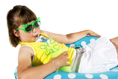 Little Girl with sunglasses as a movie-star look-a-like Stock Photo - 966482