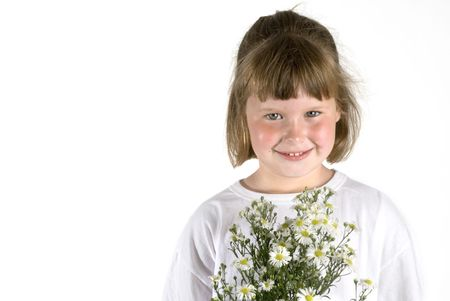 plucked: Little girl with self plucked flowers as a gift to you