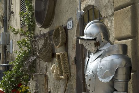 armour plating: metal cavalier from the medieval times