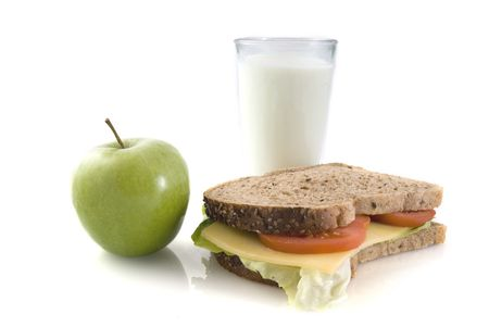 Healthy lunch with whole-meal bread and milk