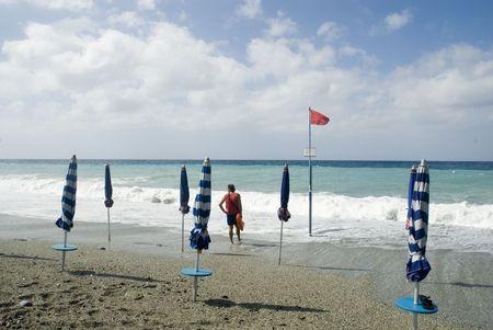 sauvegarde: sauvegarde sur la plage Banque d'images