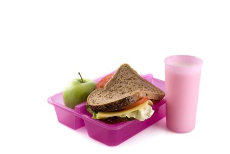 Healthy lunchbox with whole-meal bread, fruit and milk Stock Photo - 1298727