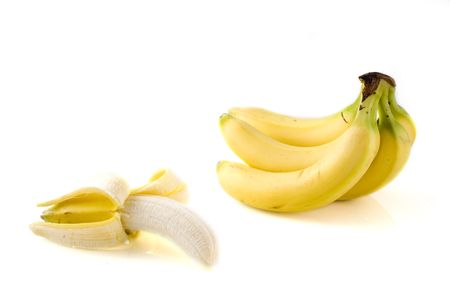 alimentary: a bunch of bananas with one opened