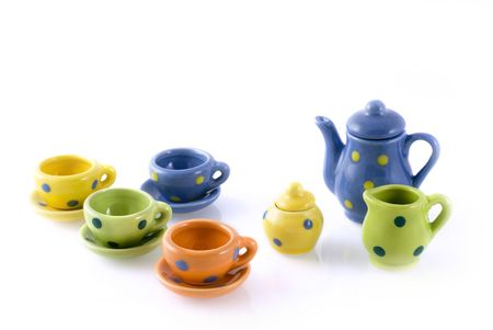 colorful mini-service with dots for a play Stock Photo