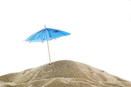 one single blue parasol on the empty beach Stock Photo