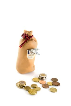 miserly: save the money in an old bag