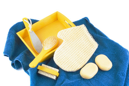 scrubbing: scrubbing your skin in blue and yellow