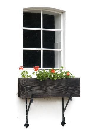 window on white with geraniums photo