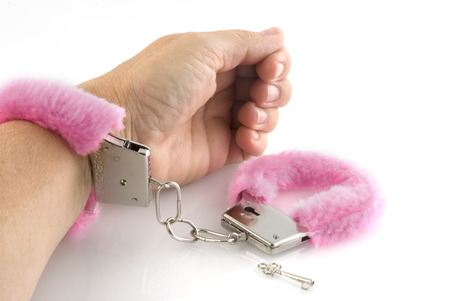 Pink soft handcuffs for adult-games photo