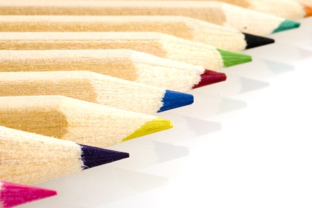 wooden color-pencils in a row Stock Photo - 1693739
