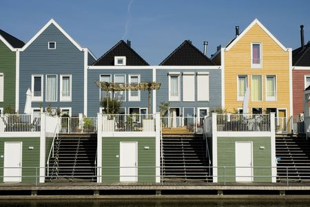 carribean: modern wooden houses in carribean style Stock Photo