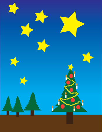 simplification: christmas tree outdoor by night in the forest Illustration