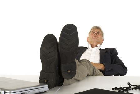 workless: sleeping senior ceo at the office