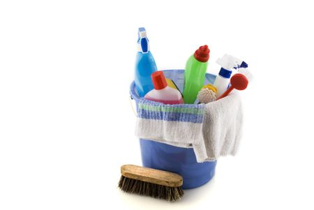 cleaning with bucket, brushes and