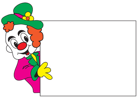 Clown with whiteboard for your text Stock Vector - 2009601