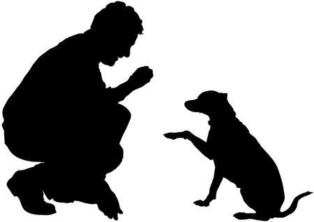 Man and dog are training obedience Illustration