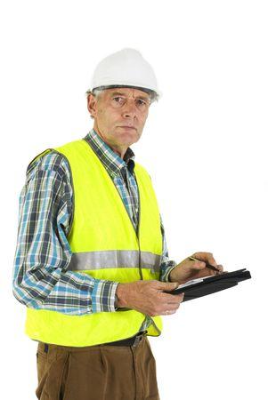 contrema�tre: d'inspection sur le lieu de travail par un inspecteur  Banque d'images