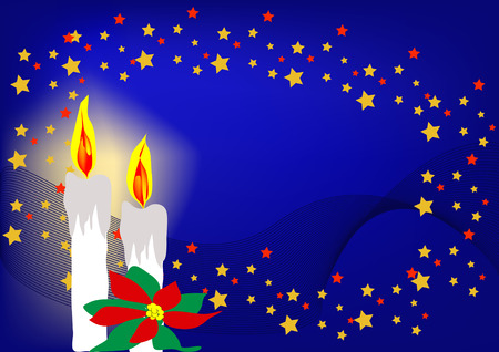 candles and stars with christmas in blue Vector